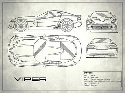 Srt Viper Blueprint Art Print