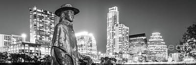 Austin Skyline Photograph - Srv Statue And Austin Skyline Black And White Panorama by Paul Velgos