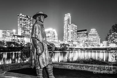 Austin Skyline Photograph - Srv Statue And Austin Skyline In Black And White by Paul Velgos