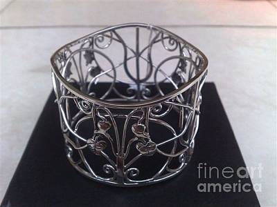 Sterling Silver With Ceramics Jewelry - Ss Bangle With Flower And Wire Works by fmnjewel - Fernando Situmeang