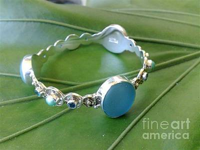 Sterling Silver With Ceramics Jewelry - Ss Bangle With Ice Blue Tumble Glass Marble by fmnjewel - Fernando Situmeang