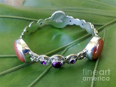 Sterling Silver With Ceramics Jewelry - Ss Bangle With Iridescent Glass Gem Red Marbles by fmnjewel - Fernando Situmeang