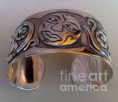 Sterling Silver With Ceramics Jewelry - Ss Cuff With Moon Face by fmnjewel - Fernando Situmeang