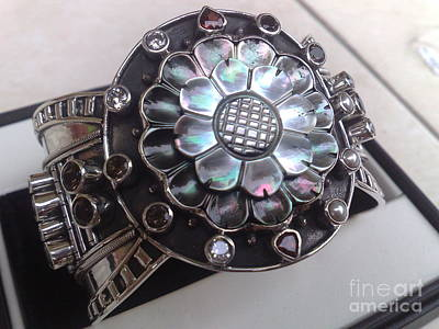 Sterling Silver With Ceramics Jewelry - Ss Cuff With Mop And Variety Semi Precious Stones by fmnjewel - Fernando Situmeang