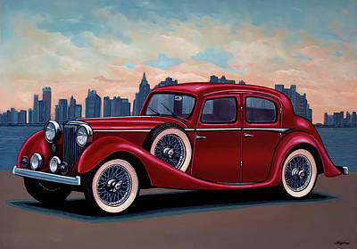 Painting - Ss Jaguar Saloon 1936 Painting by Paul Meijering