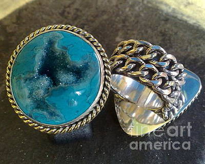 Sterling Silver With Ceramics Jewelry - Ss Ring With Indonesian Turquoise Drusy by fmnjewel - Fernando Situmeang