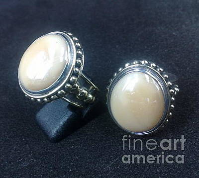 Sterling Silver With Ceramics Photograph - Ss Ring With Santa Fe Glass Gem Marbles  by fmnjewel - Fernando Situmeang