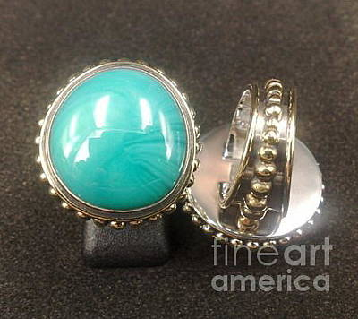 Sterling Silver With Ceramics Jewelry - Ss Ring With Turquoise Opaque Glass Gem Marbles  by fmnjewel - Fernando Situmeang