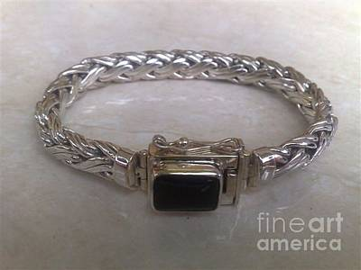 Sterling Silver With Ceramics Jewelry - Ss Wheat Chain Bracelet With Onyx by fmnjewel - Fernando Situmeang