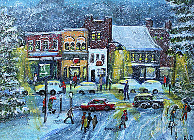 Concord Massachusetts Painting - Snowing In Concord Center by Rita Brown