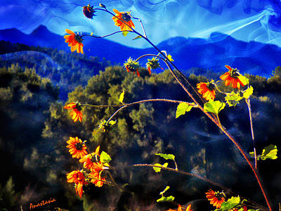 Mixed Media - Sunflowers And Blue Mountains From My Green House Of Prayer El Valle by Anastasia Savage Ealy