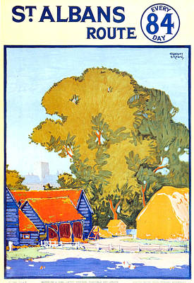 Royalty-Free and Rights-Managed Images - St Albans Route - London Underground - Metro - Retro travel Poster - Vintage Poster by Studio Grafiikka