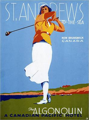 Royalty-Free and Rights-Managed Images - St Andrews by the Sea - Canadian Pacific Hotel - Retro travel Poster - Vintage Poster by Studio Grafiikka