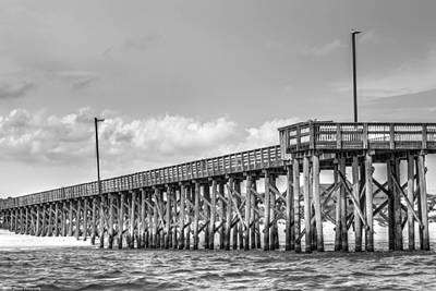 Photograph - St. Andrews Pier Panama City Beach Bw  by Debra Forand
