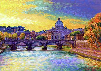 Skylines Paintings - St Angelo Bridge Ponte St Angelo Rome by Jane Small
