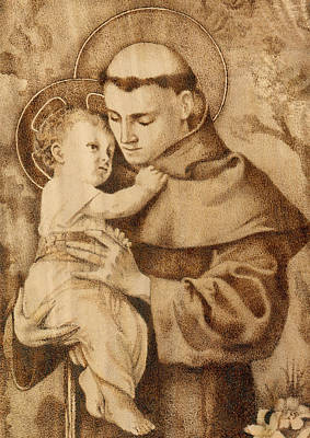 Pyrography On Wood Pyrography - St. Anthony by Conrad  Pinto