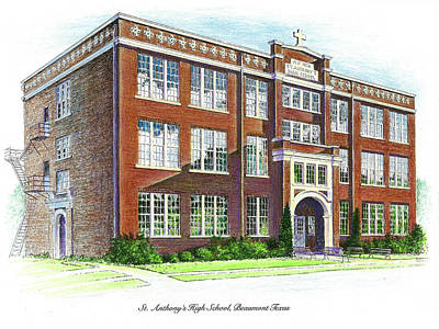 Drawing - St. Anthony's High School by Randy Welborn