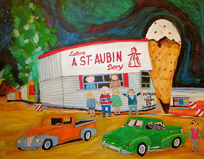 Litvack Naive Painting - St. Aubin Ice Cream Plage Laval by Michael Litvack