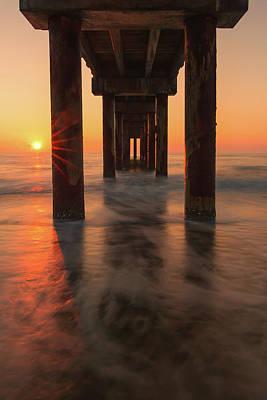 Florida Nature Photograph - St Augustine Beach Pier Sunrise Reflection by Stefan Mazzola