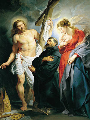 Counter Painting - St. Augustine Between Christ And The Virgin by Peter Paul Rubens