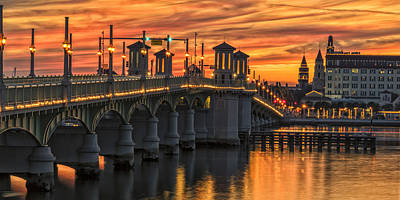 Photograph - St Augustine Bridge Of Lions Sunset Dsc00565_16 by Greg Kluempers
