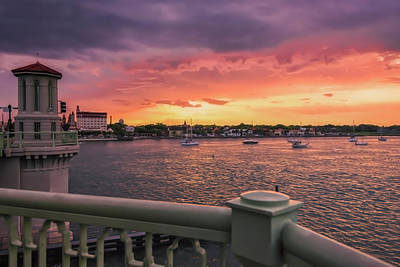 Photograph - St. Augustine Bridge Of Lions Watercolor Sunset by JoeDes Photography