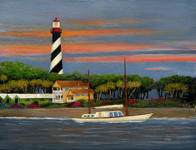 Gouache Painting - St. Augustine Light by Gordon Beck