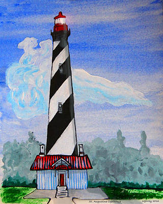 Cape Florida Lighthouse Painting - St Augustine Light  by W Gilroy