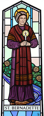 Glass Art - Saint Bernadette  by Gilroy Stained Glass