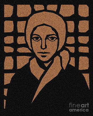 Painting - St. Bernadette Of Lourdes - Brown Glass - Dbbbg by Dan Paulos