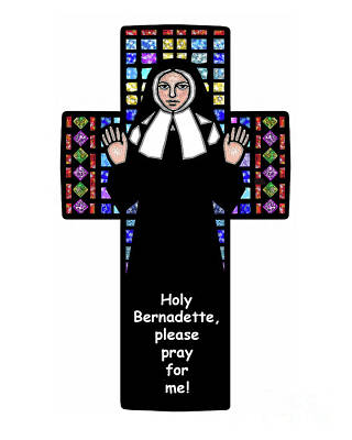 Painting - St. Bernadette Of Lourdes - Cross - Dpbcr by Dan Paulos