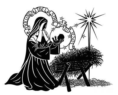 Painting - St. Bernadette Of Lourdes - Manger - Dpbem by Dan Paulos