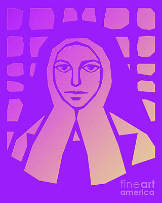 Painting - St. Bernadette Of Lourdes - Purple Glass - Dpbpg by Dan Paulos