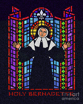 Painting - St. Bernadette Of Lourdes - Window - Dpbew by Dan Paulos
