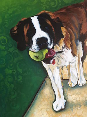 Dog With Tennis Ball Painting - St. Bernard by Carol Meckling