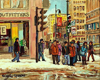 Montreal Winterscenes Painting - St Catherine And Peel  Downtown Montreal by Carole Spandau