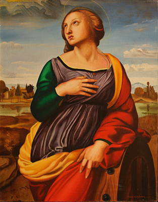 Painting - St Catherine Of Alexandria-after Raphael by Rosencruz  Sumera