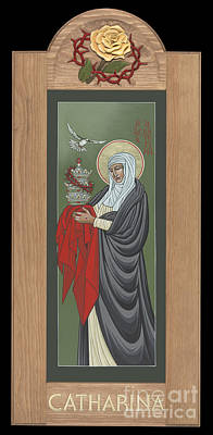 Painting - St Catherine Of Siena With Frame by William Hart McNichols