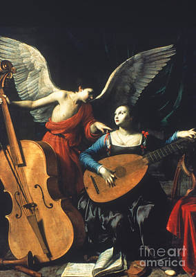 Double Bass Painting - St. Cecilia And The Angel by Granger