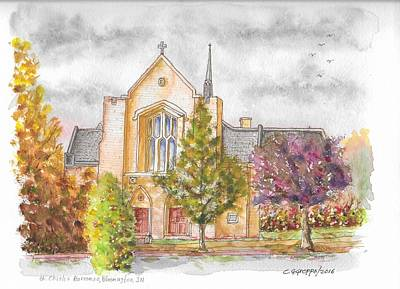 Borromeo Painting - St. Charles Borromeo Catholic Church, Bloomington, Indiana by Carlos G Groppa