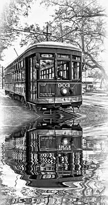 St. Charles Streetcar 2 - Reflection Bw Art Print by Steve Harrington