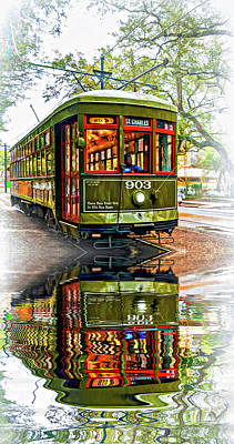 Rainy Day Photograph - St. Charles Streetcar 2 - Reflection by Steve Harrington