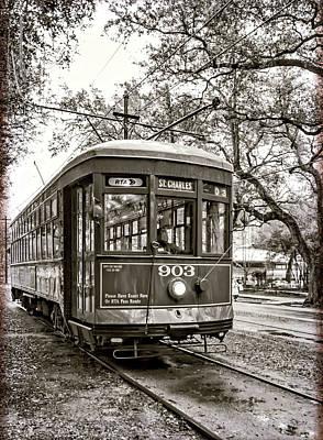 St. Charles Streetcar 2 Sepia Art Print