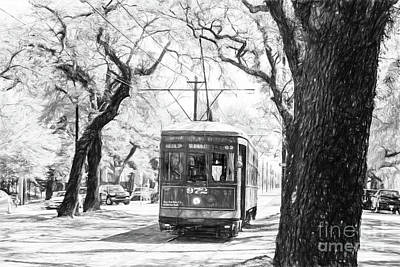Photograph - St. Charles Streetcar - Pencil Bw by Scott Pellegrin