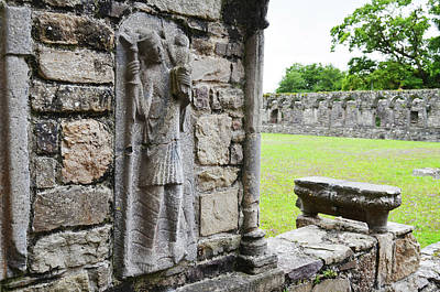 Europe Photograph - St Christopher Carrying Infant Jesus Christ Stone Carving Jerpoint Abbey Ireland by Shawn O'Brien