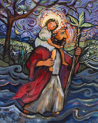 Saint Christopher Painting - St. Christopher by Jen Norton