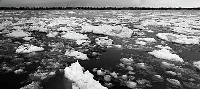 Photograph - St. Clair River Thaw Panorama Bw by Mary Bedy