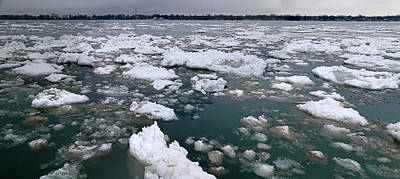 Photograph - St. Clair River Thaw Panorama by Mary Bedy