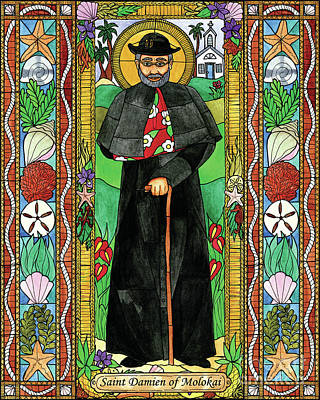 Painting - St. Damien Of Molokai by Brenda Nippert