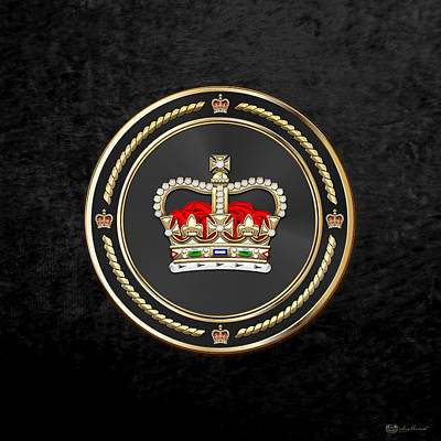 Digital Art - St Edward's Crown - British Royal Crown Over Black Velvet by Serge Averbukh